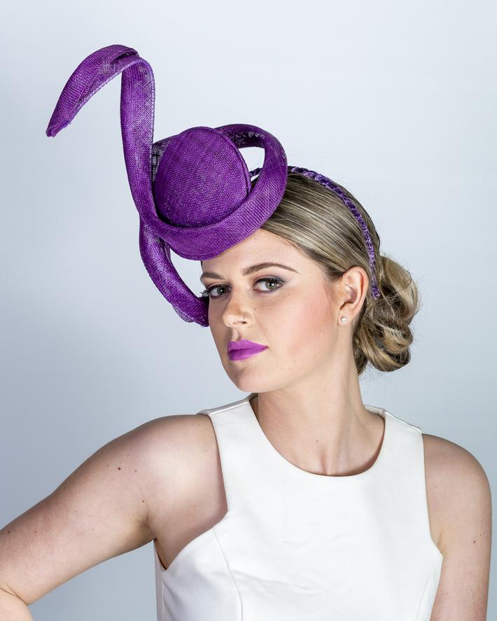 Purple sinamay percher