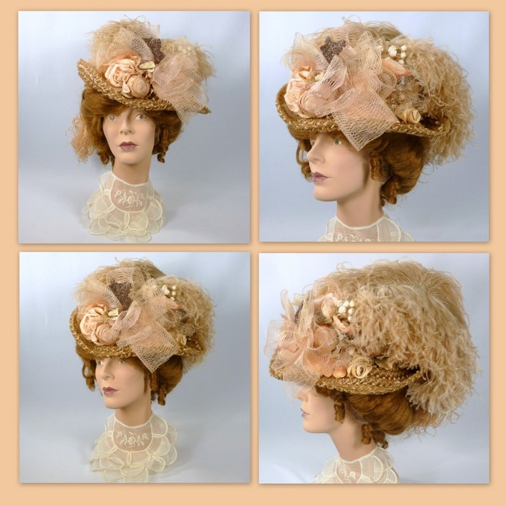 Reproduction Victorian - woven straw - feathers - crin- flowers