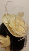 Beige Flower & Feather Fascinator