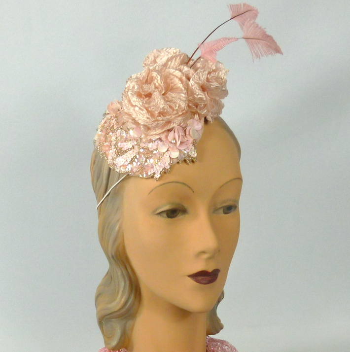 Light Pink Sequined Button Fascinator Hat