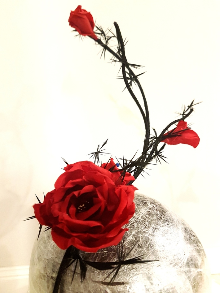 Red Silk French flower fascinator