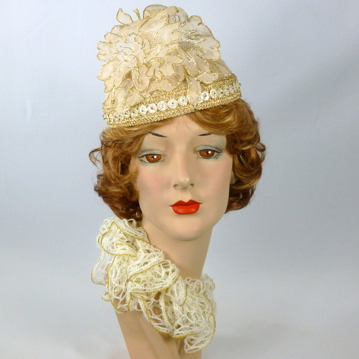 Ivory and Gold Lace on Lace Pillbox Hat - Matching Lace Flowers