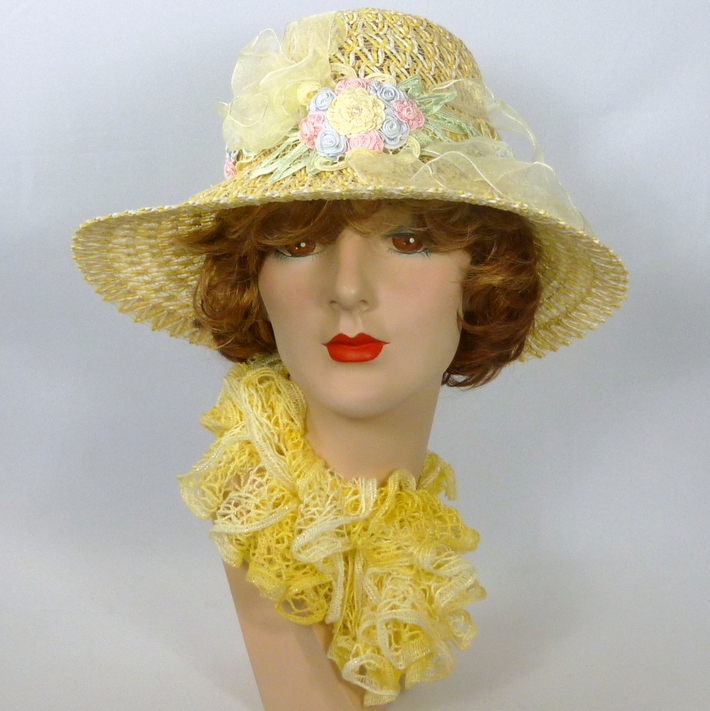 Yellow & White Straw Kentucky Derby Sun Hat