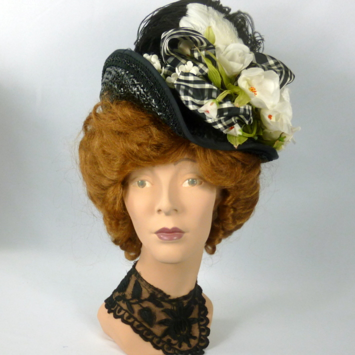 Reproduction Victorian Straw Traveling Hat