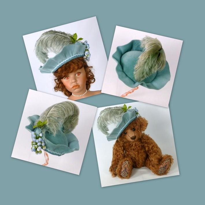 Dusty Blue Doll or Teddy Bear Felt Hat