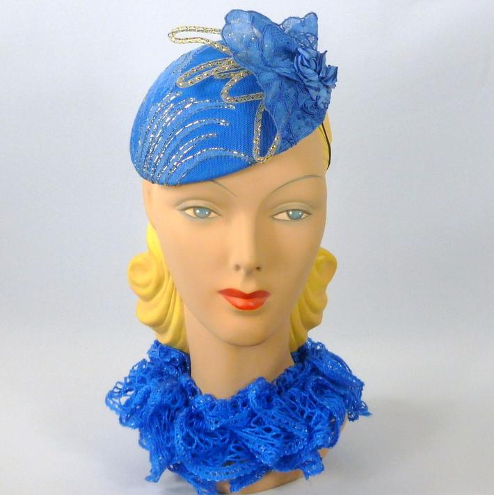 Bright Blue Lace Button Fascinator Hat