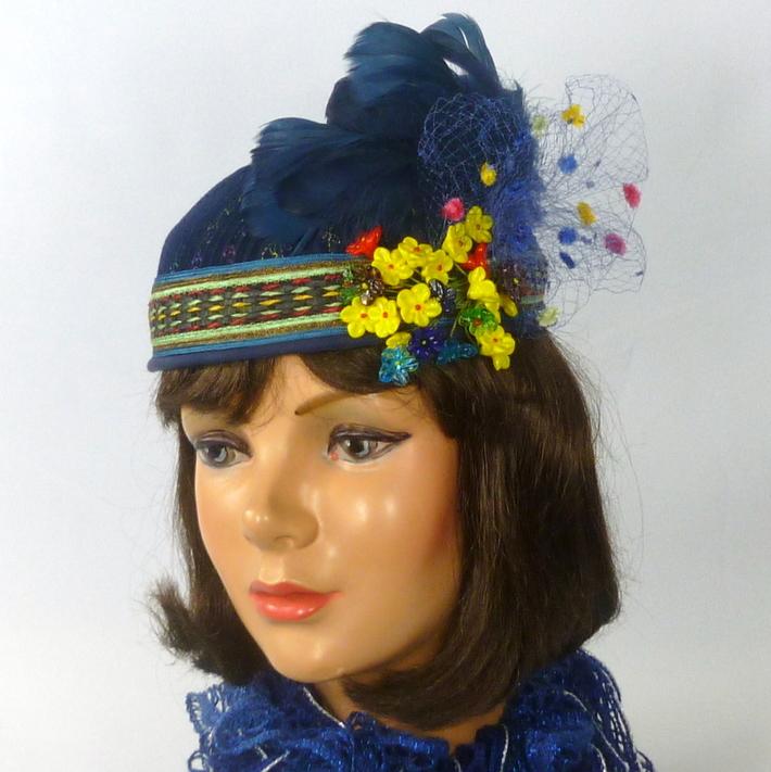 Blue Embroidered Felt Pillbox Hat