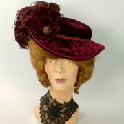 Reproduction Victorian Velvet Traveling Hat 1800 to1900s Edwardian