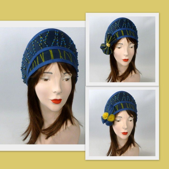 Blue and Yellow Patterned Fur Felt Cloche Hat