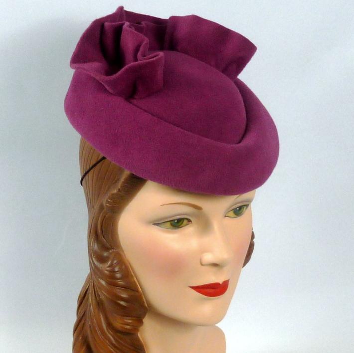 Light Burgundy Velour Felt Hat Fascinator