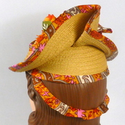 Natural straw and Multicolored Silk Hat