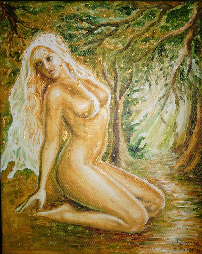 Dorinta lui Mihai Eminescu pictura cu femeie nud in padure in acrilice pe panza - Nude woman in a forest acrylic on canvas painting