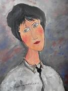 "Interpretare dupa"" Femeie cu cravata neagra "", Modigliani"