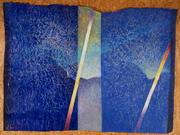Great column of light. Acryl on paper. 230X110.  2009.
