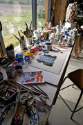 View of studio in Mareuil. France.