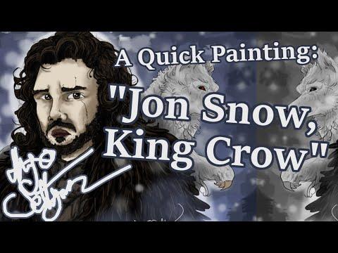 "Game of Thrones Painting: ""Jon Snow, King Crow"""