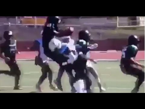 WATCH: Youth football player hits WWE-style spinebuster on opposing running back