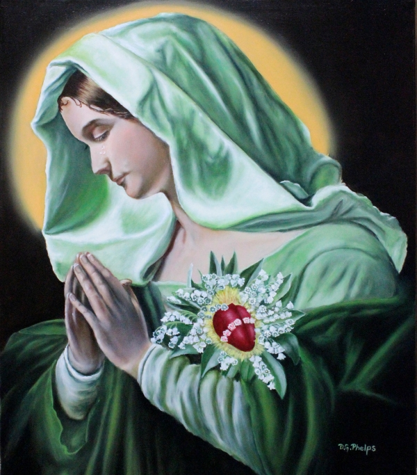 Mother Mary with Sacred Heart and Lily of the Valley flowers