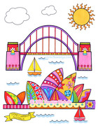 Sydney Harbour Coloring Page Art by Thaneeya McArdle