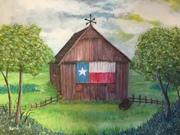 Texas Barn and Bluebonnets