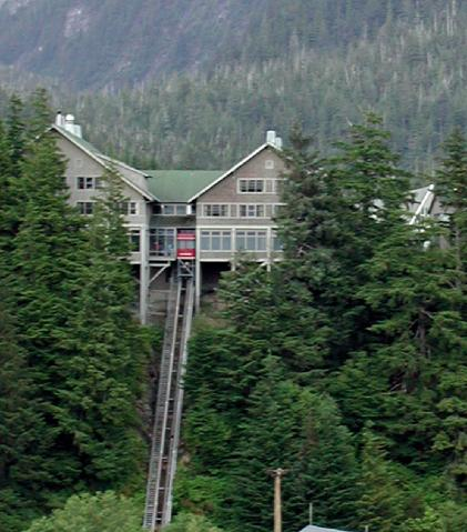 Cape Fox Lodge and its funicular
