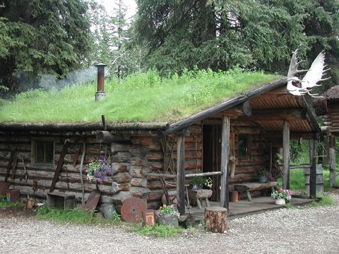 Typical lchinked log cabin with sod roof