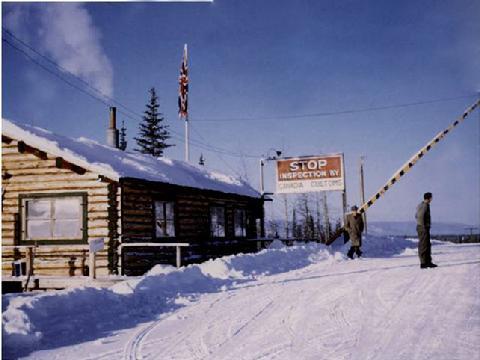 Dawson Creek Intl crossing circa 1950.