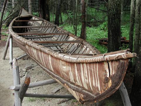 Native American birch canoe