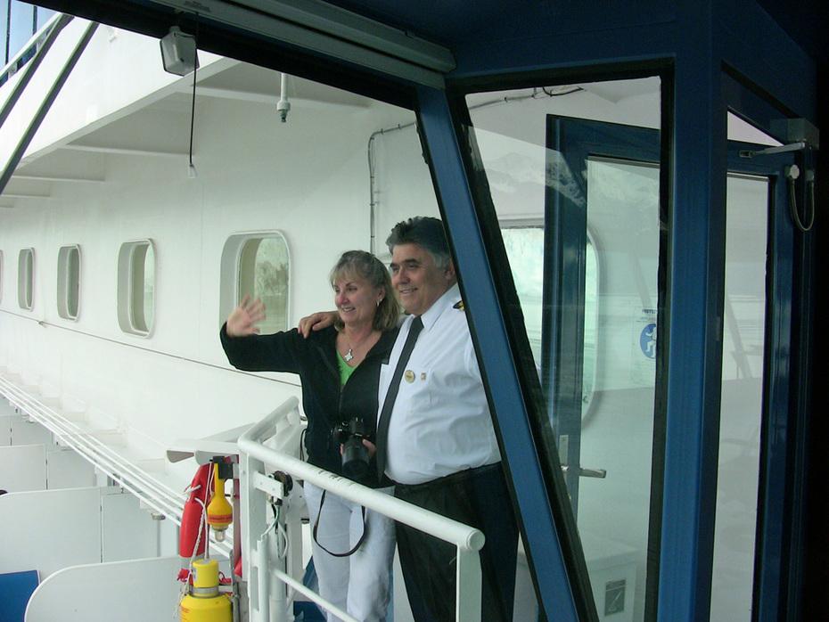 Captain Amitrano & Pat on bridge wing -2011