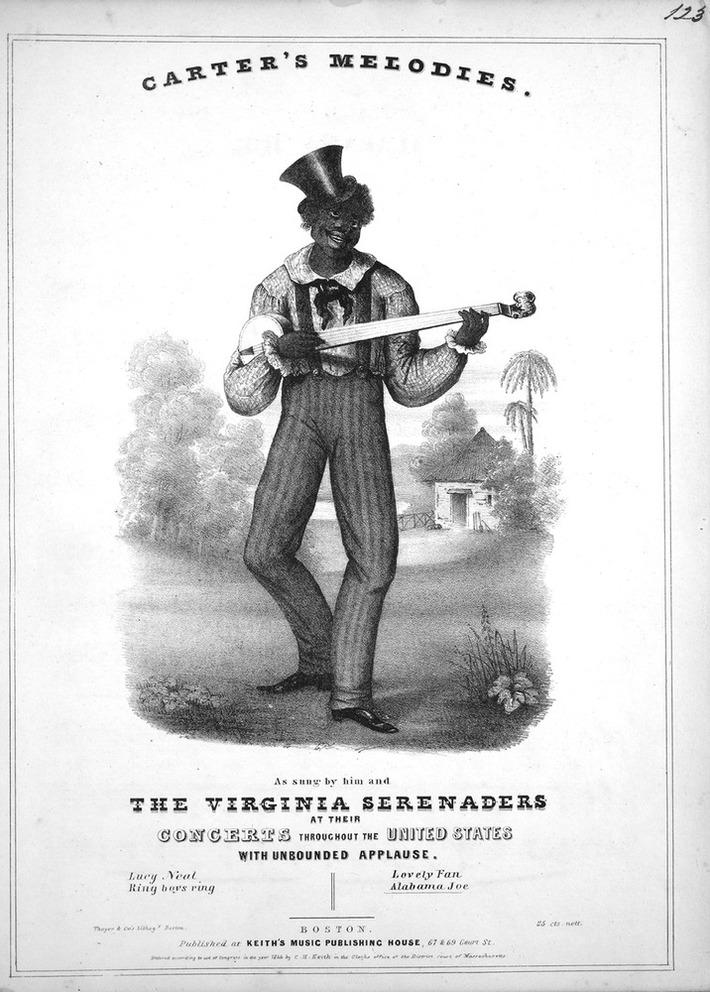 Minstrel banjoist in 1844. 4 melody strings, no thumb string