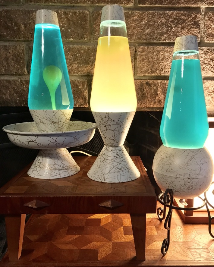 60s White Gold Squiggle Lamps
