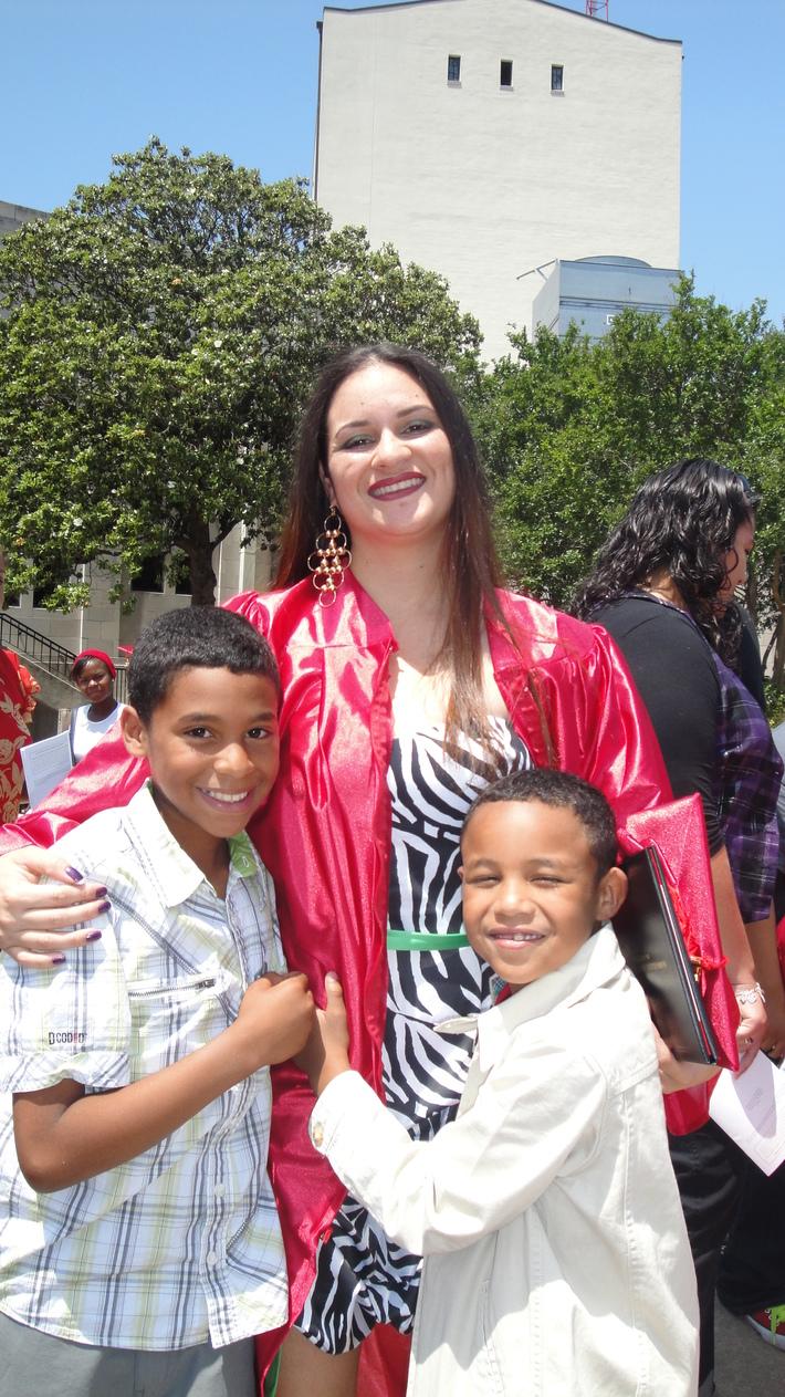 My boys congratulating me after graduation