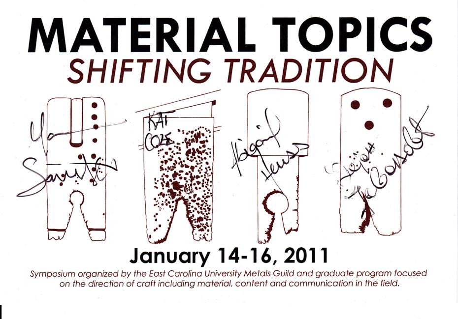 ECU Material topics postcard front