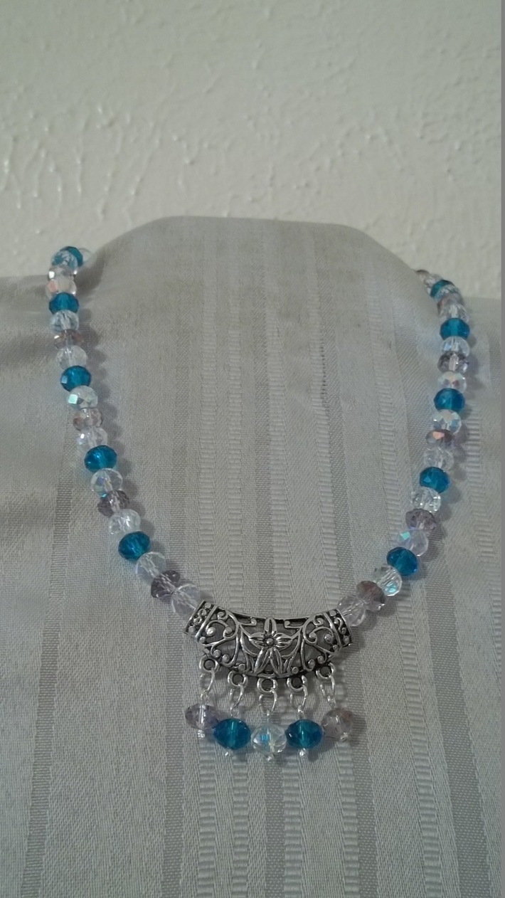 Turquoise, Clear & Light Amethyst Beads