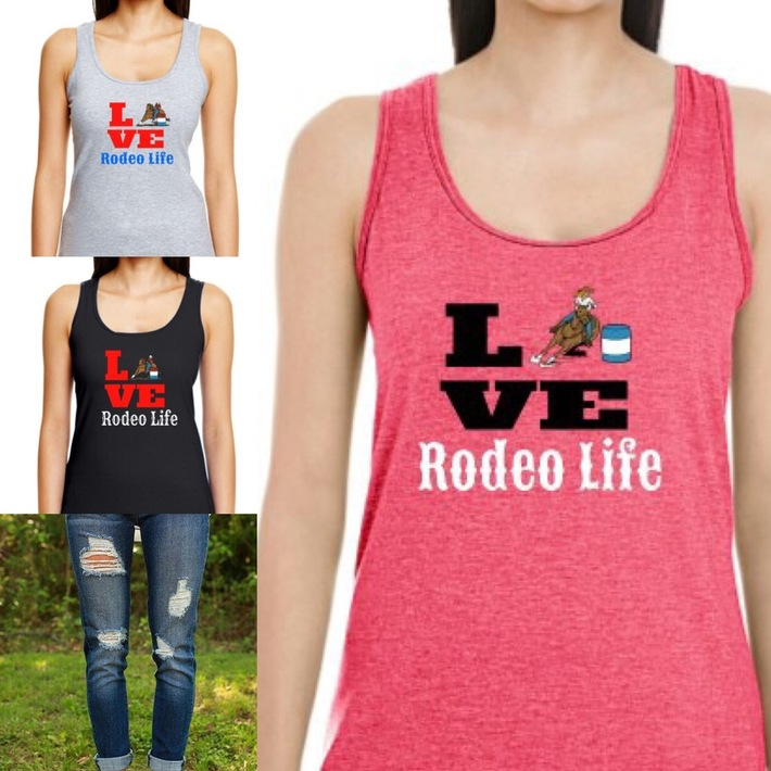 LOVE Rodeo Life Barrel Racer Tank Tops
