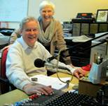 Crimson Cats Audiobooks producer Michael Bartlett and author Felicity Hayes-McCoy during the audiobook recording of The House on an Irish Hillside.