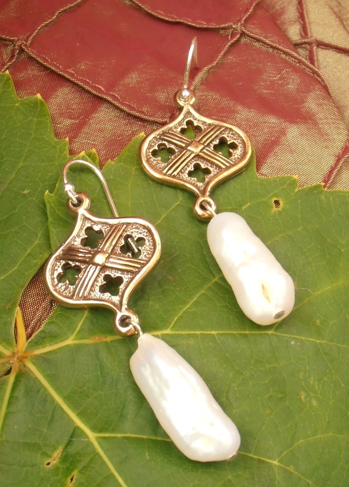 Church Window Cross Earrings --A Nagle Forge and Foundry original....