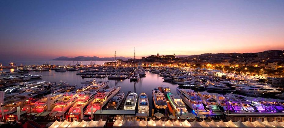 cannes harbour by night