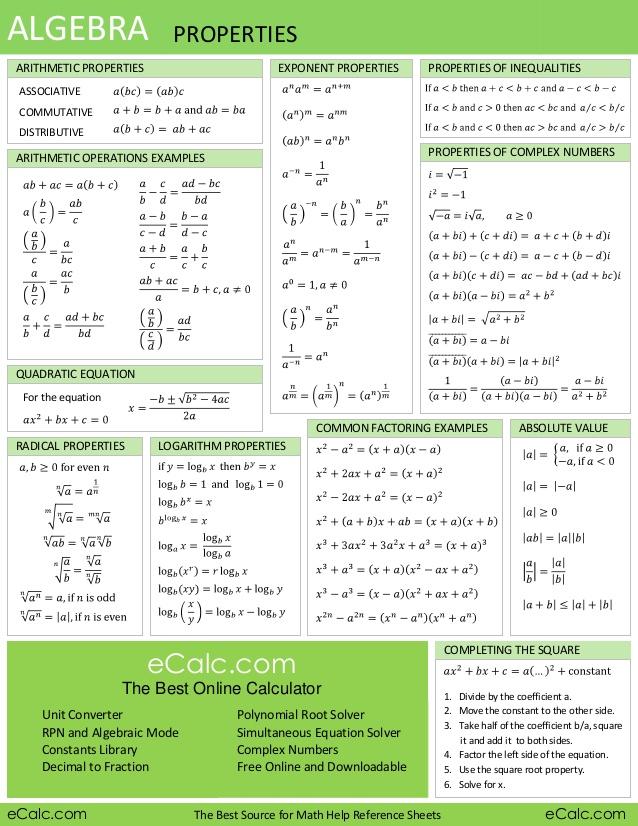 MTH301 - Calculus II - Formulas - Fall 2017 Semester - Virtual
