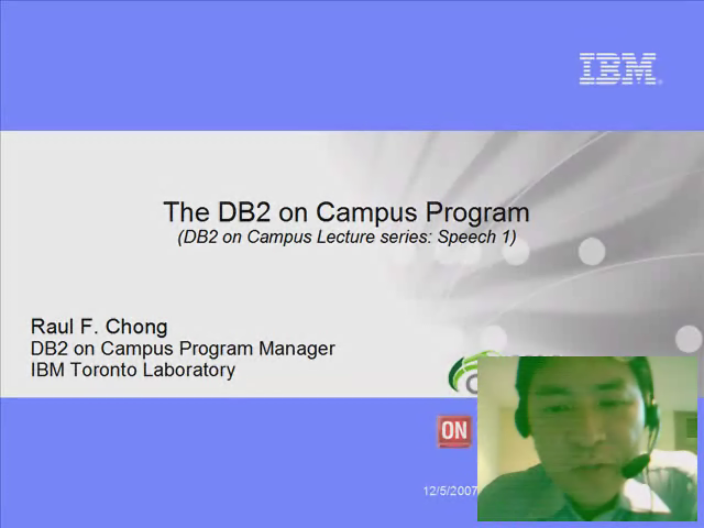 Speech 1: The DB2 on Campus Program
