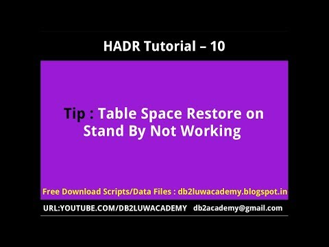 HADR Tutorial Part 10 - Table Space Restore on Stand By Not Working