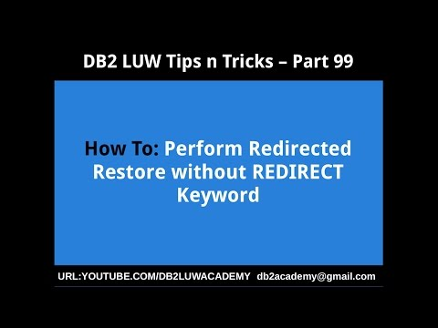DB2 Tips n Tricks Part 99 - How To Perform Redirected Restore without REDIRECT Keyword