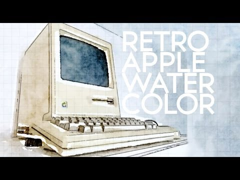 Retro Apple Watercolor with Waterlogue