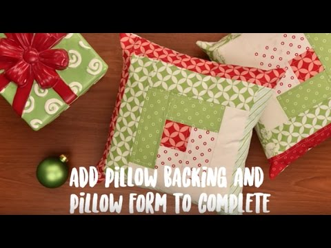 Easy Holiday Patchwork Pillow Project - Log Cabin