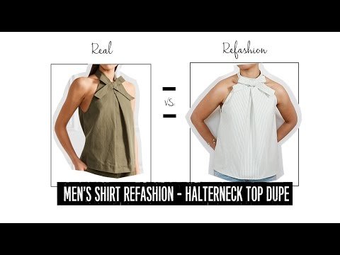 Sew a Pretty Summer Halter Top - Men's Shirt Refashion