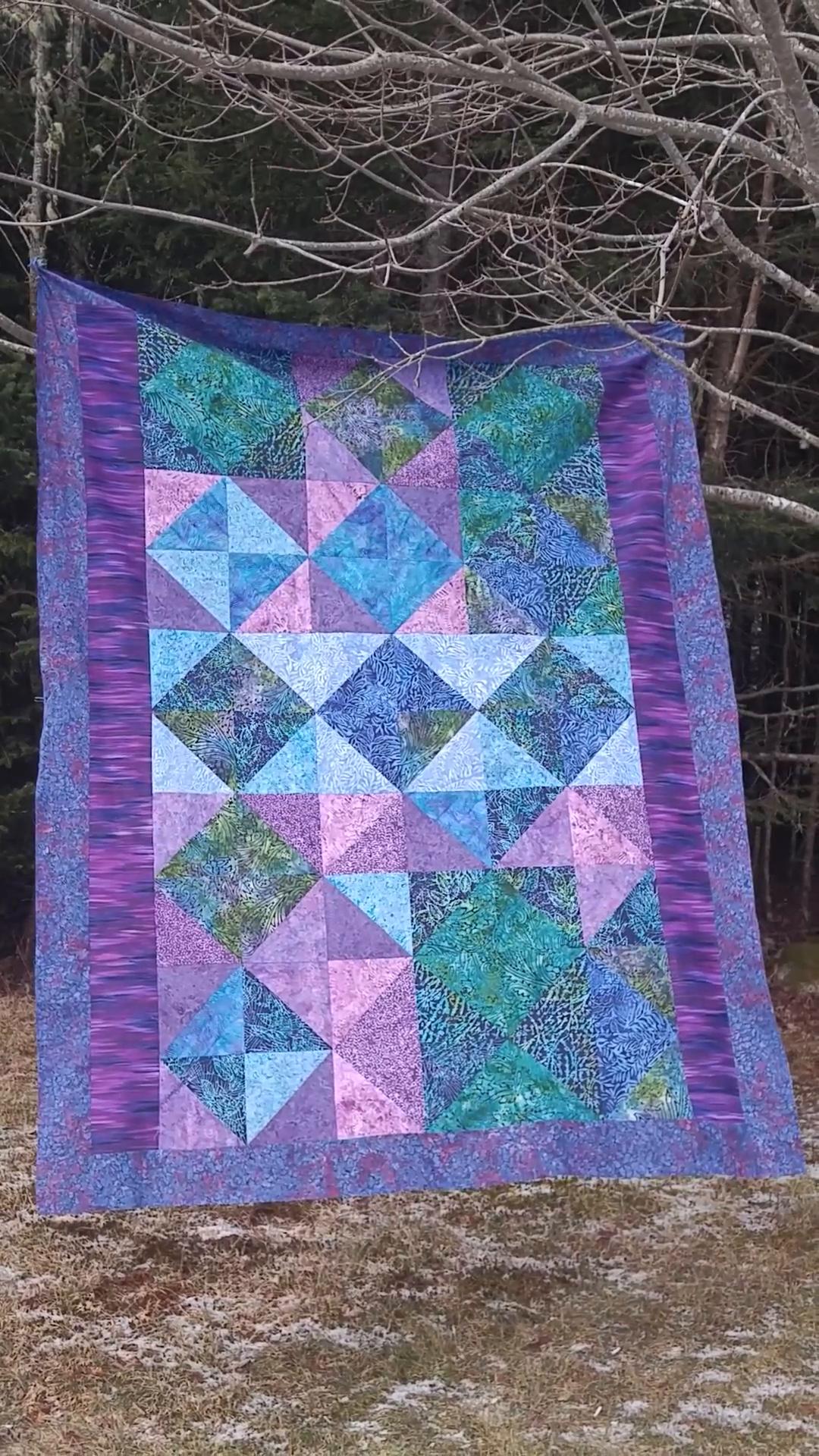 Half Square Triangle Quilt   Scrappy Tropical Batiks