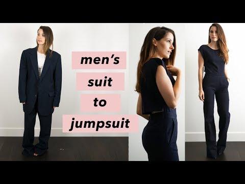 Elizabeth Bryson Sews a Wide Leg Jumpsuit from a Men's Suit
