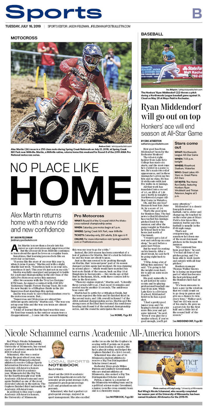 Rochester Post Bulletin sports cover 7/16/2019
