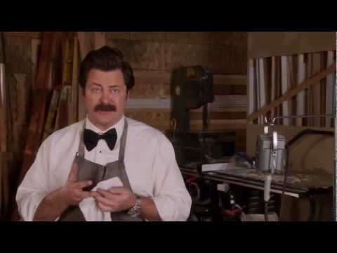Ron Swanson makes wedding rings from a sconce