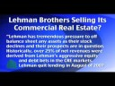 Lehman Selling Commercial Real Estate, Dim Views by RE Execs